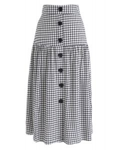 Sway Into Gingham Botton Down Midi Skirt in Black