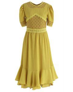 Moonlight Shadow Lace Inserted Midi Dress in Mustard