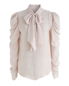 Victorian Bowknot Shirt in Blush