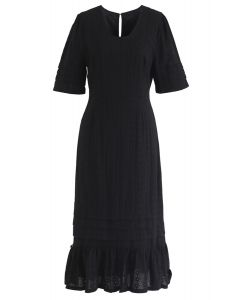 Can't Get Enough Embroidered Dress in Black