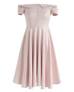 Going Retro Off-Shoulder Midi Dress in Pink