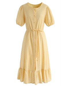 There She Goes Embroidered Button Down Dress in Yellow