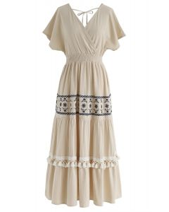 My Only Wish Boho Wrap Dress in Linen