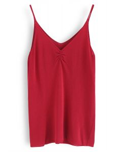 Check This Out Knit Cami Top in Red