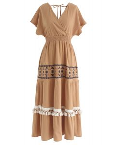 My Only Wish Boho Wrap Dress in Orange