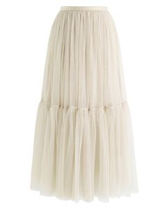 Can't Let Go Mesh Tulle Skirt in Cream