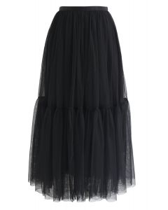 Can't Let Go Mesh Tulle Skirt in Black