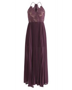 Go Gracefully Lace Pleated Maxi Dress in Violet