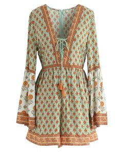 Sunset Kiss Boho Lace-Up Playsuit