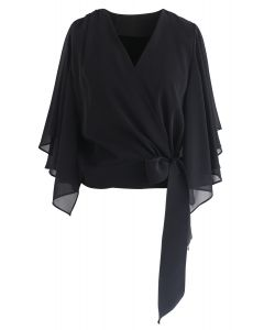 Chic Natural Cropped Cape Top in Black