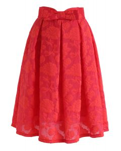 Rose Garden Bowknot Pleated Skirt in Red
