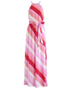 Sweet Sunset Stripe Halter Neck Maxi Dress