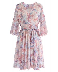 Tropical Splendor Watercolor Printed Wrap Dress in Pink