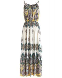 Boho Paisley Halter Neck Maxi Dress