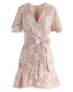 Daisy Land Full Lace Wrap Mini Dress in Blush