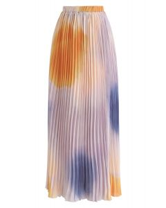 Pastel Refection Pleated Maxi Skirt