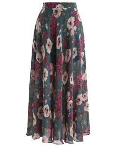 Blossom Age Floral Chiffon Maxi Skirt in Dark Green