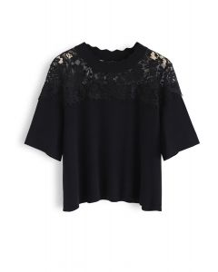 Best Part Lace Trimmed Knit Top in Black