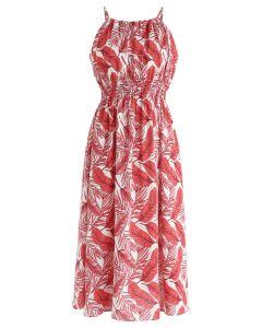 Field of Palm Halter Neck Midi Dress in Red