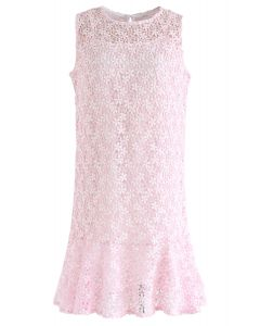 Brand New Love Crochet Sleeveless Dress in Pink