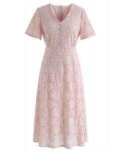 Think About Me Full Lace Midi Dress in Pink
