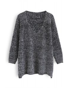 In My World V-Neck Knit Sweater in Black
