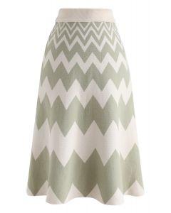Zigzag Knit A-Line Midi Skirt in Green