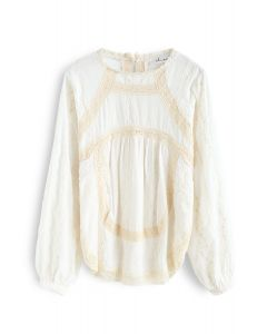 Lace Inserted Embroidered Tunic in Cream