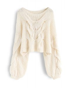Hand-Knit Puff Sleeves Sweater in Cream