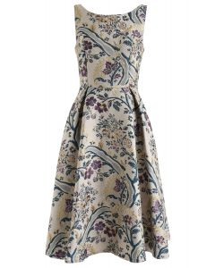 Vintage Bouquet Embossed Sleeveless Dress
