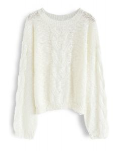 Loose Fit Cable Knit Sweater in Ivory