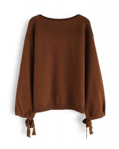 Bubble Sleeves Drawstring Bowknot Knit Sweater in Caramel