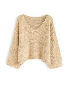 V-Neck Oversize Slouchy Sweater in Light Tan