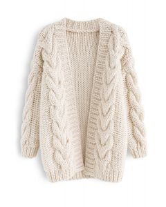 Cable Trim Chunky Hand Knit Cardigan