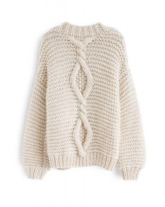 Hand Knit Cable Chunky Cardigan in Cream