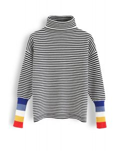 Color Blocked Cuffs Turtleneck Knit Sweater in Stripe