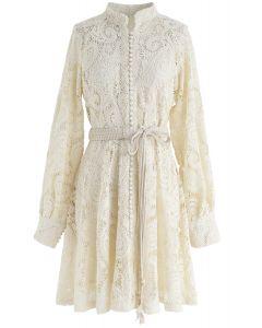 Button Front Belted Crochet Dress