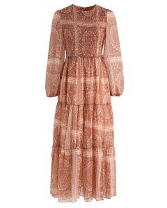 Boho Shirred Maxi Dress in Orange