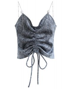 Drawstring Metal Chain Cami Top in Dusty Blue