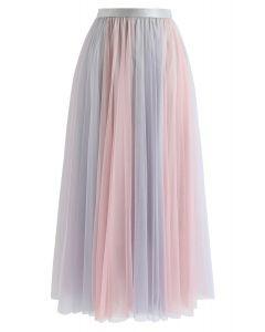 Macaron Color Blocked Mesh Tulle Skirt in Lavender