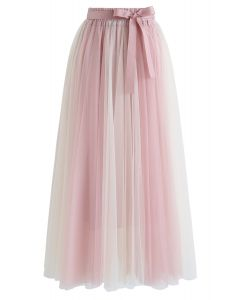 Amore Color Blocked Mesh Tulle Skirt in Pink