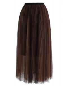 Double-Layered Mesh Tulle Skirt in Brown