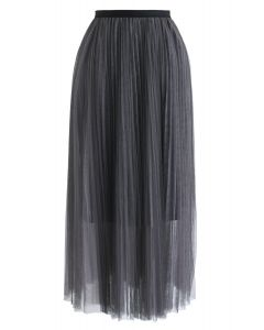 Double-Layered Mesh Tulle Skirt in Smoke