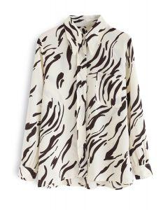 Brushstroke Printed Chiffon Shirt