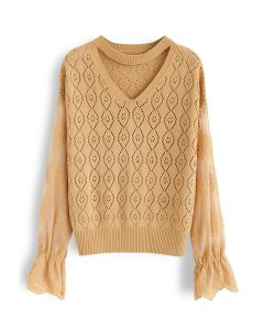 Delicacy Embroidery Sleeves Hollow Out Knit Sweater in Mustard