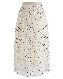 Polka Dot Double-Layered Mesh Tulle Skirt in Cream
