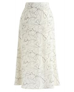 Abstract Floral Printed Midi Skirt in Cream
