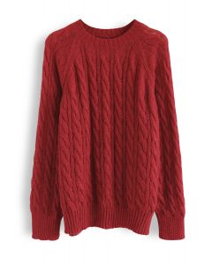 Round Neck Cable Knit Fluffy Sweater in Red