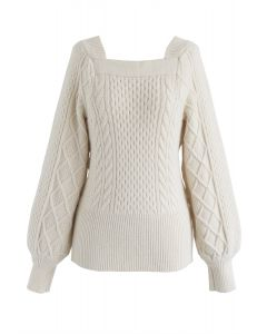 Square Neck Soft Knit Sweater in Cream