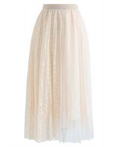 Lace Splicing Tulle Mesh Skirt in Cream